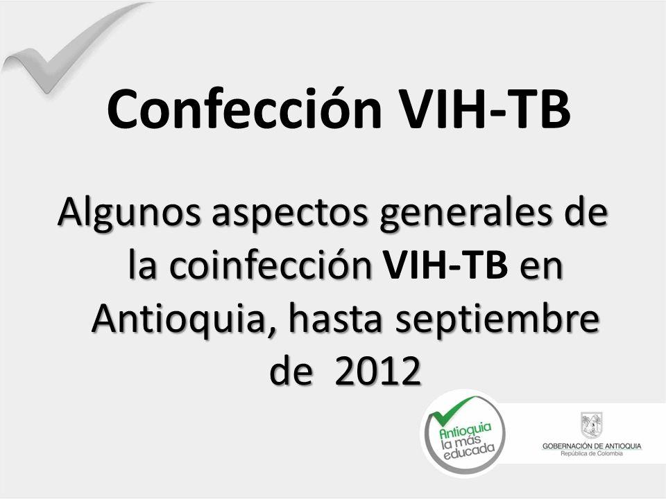 Confección VIH-TB Algunos aspectos generales de la coinfección VIH-TB en Antioquia, hasta septiembre de 2012.