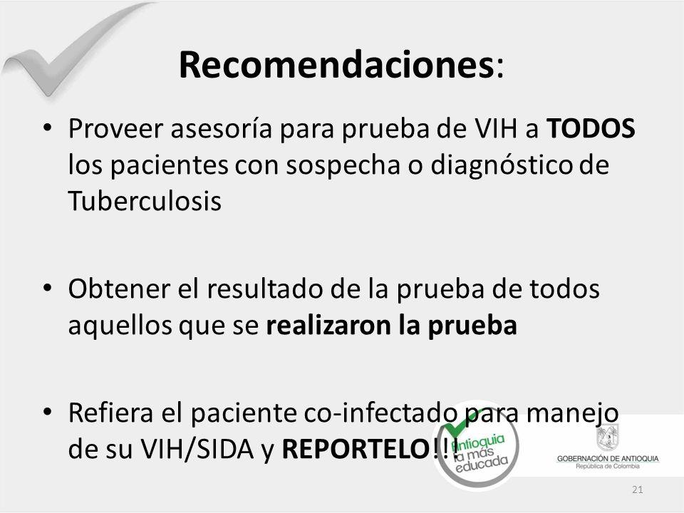 Recomendaciones: Proveer asesoría para prueba de VIH a TODOS los pacientes con sospecha o diagnóstico de Tuberculosis.