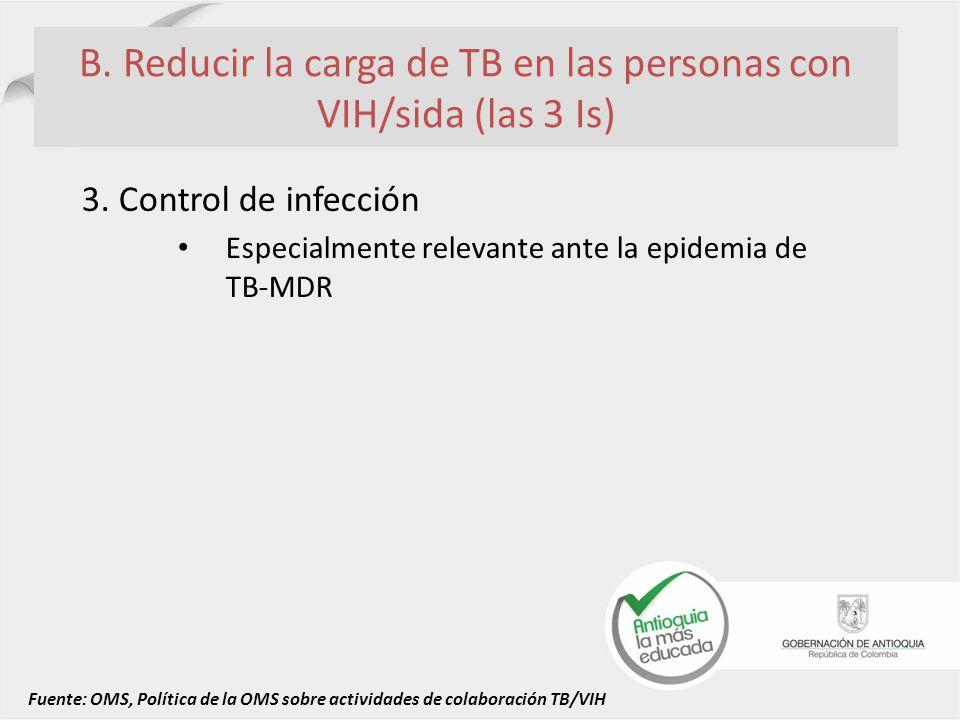 B. Reducir la carga de TB en las personas con VIH/sida (las 3 Is)