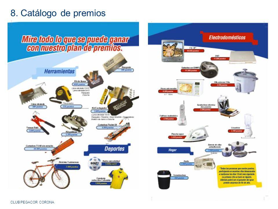 8. Catálogo de premios CLUB PEGACOR CORONA