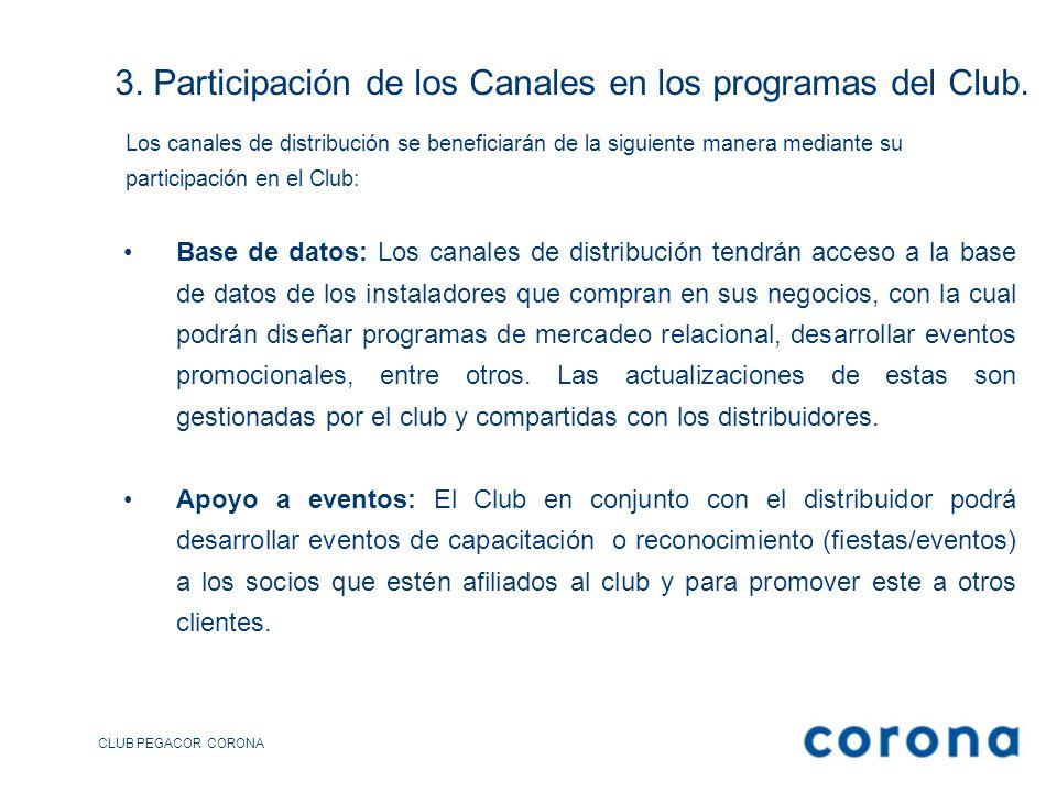 3. Participación de los Canales en los programas del Club.
