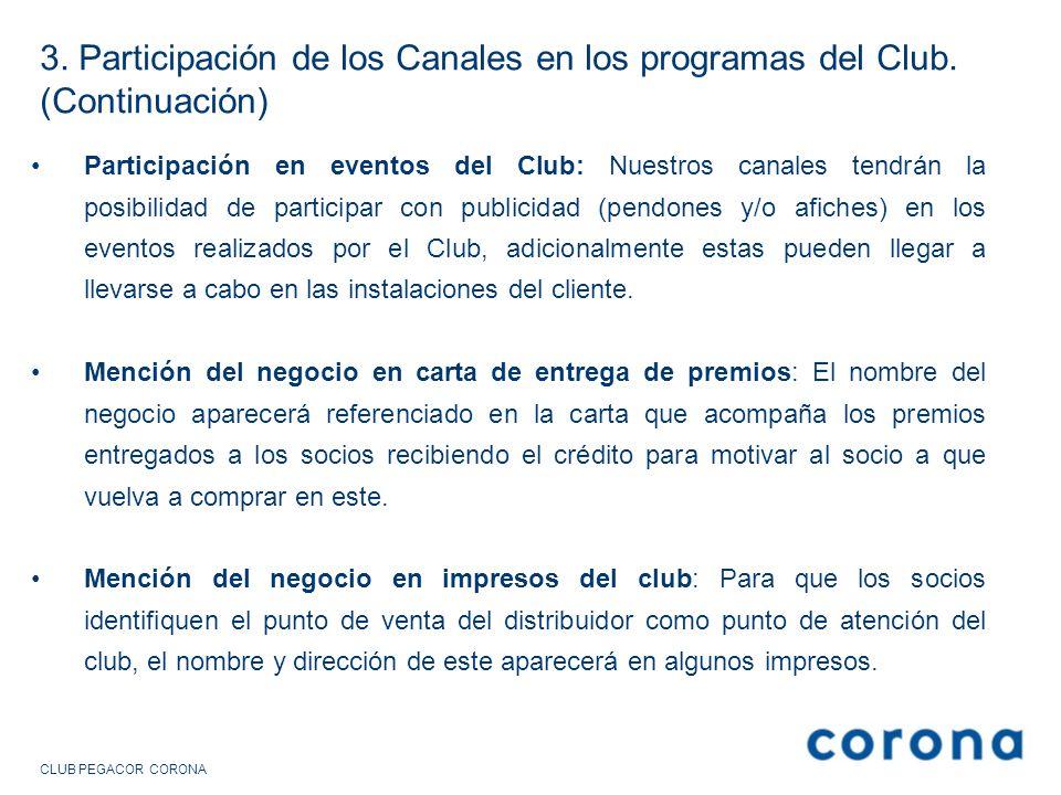 3. Participación de los Canales en los programas del Club
