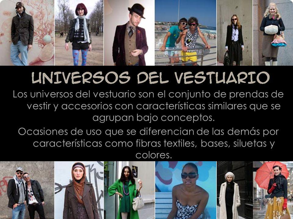Los universos del vestuario son el conjunto de prendas de vestir y accesorios con características similares que se agrupan bajo conceptos.
