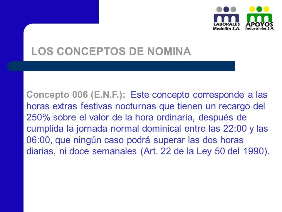 LOS CONCEPTOS DE NOMINA