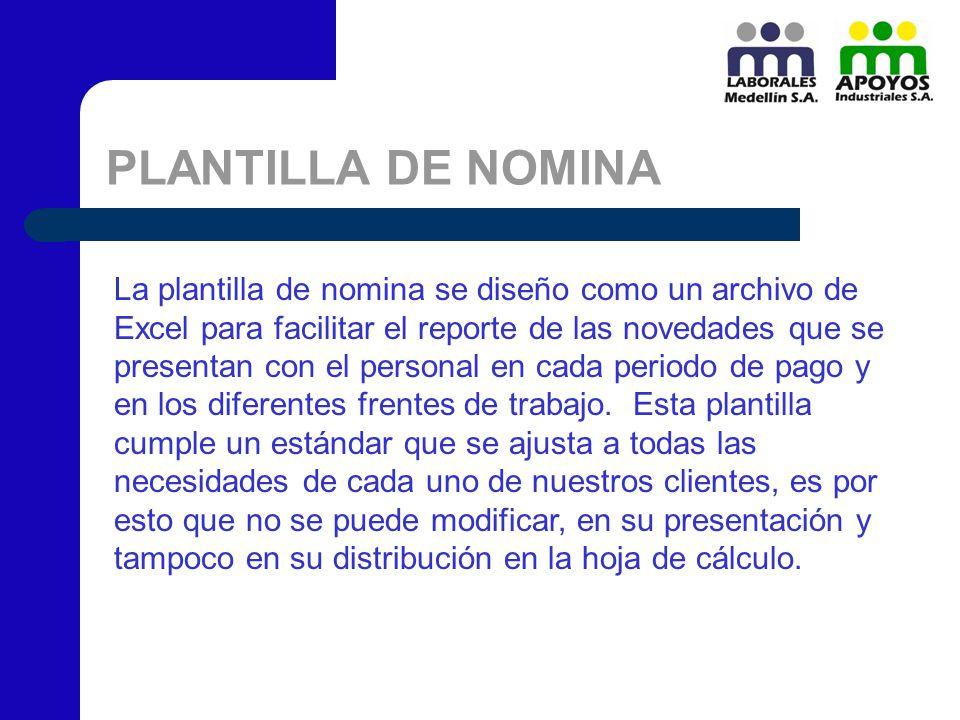 PLANTILLA DE NOMINA