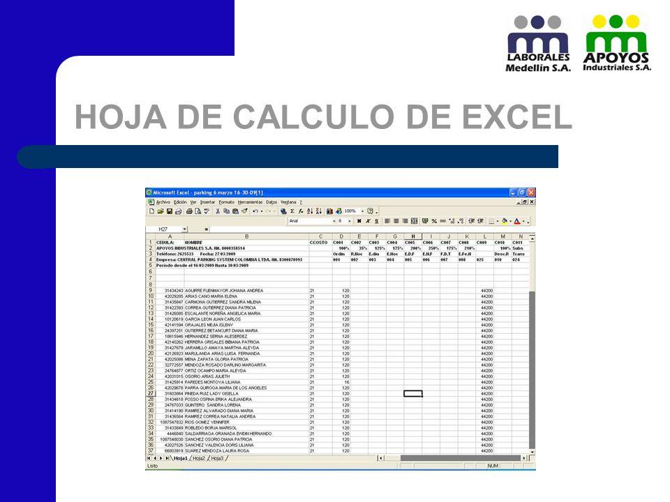 HOJA DE CALCULO DE EXCEL