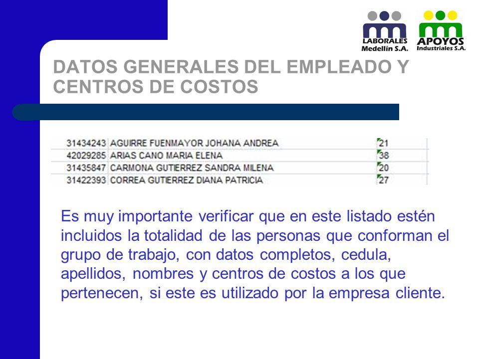DATOS GENERALES DEL EMPLEADO Y CENTROS DE COSTOS