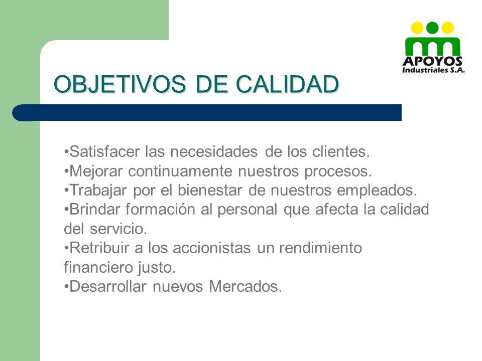 OBJETIVOS DE CALIDAD Satisfacer las necesidades de los clientes.