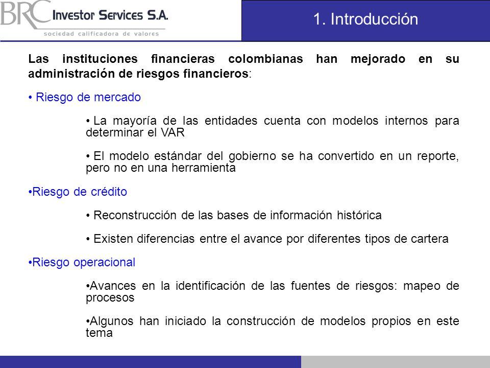 1. Introducción Las instituciones financieras colombianas han mejorado en su administración de riesgos financieros: