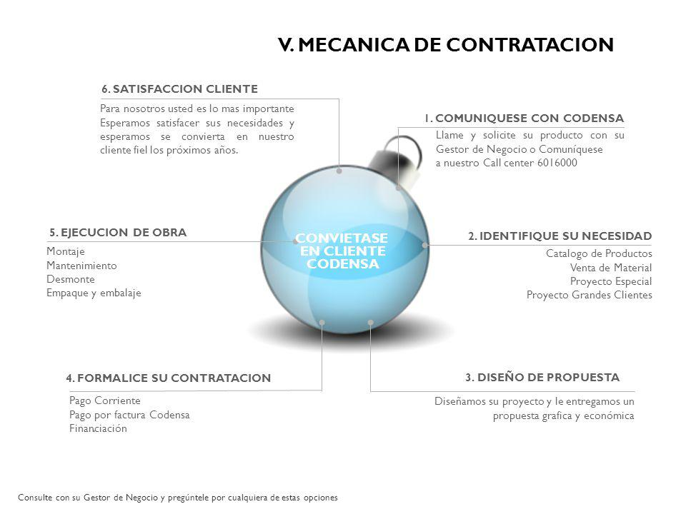 V. MECANICA DE CONTRATACION