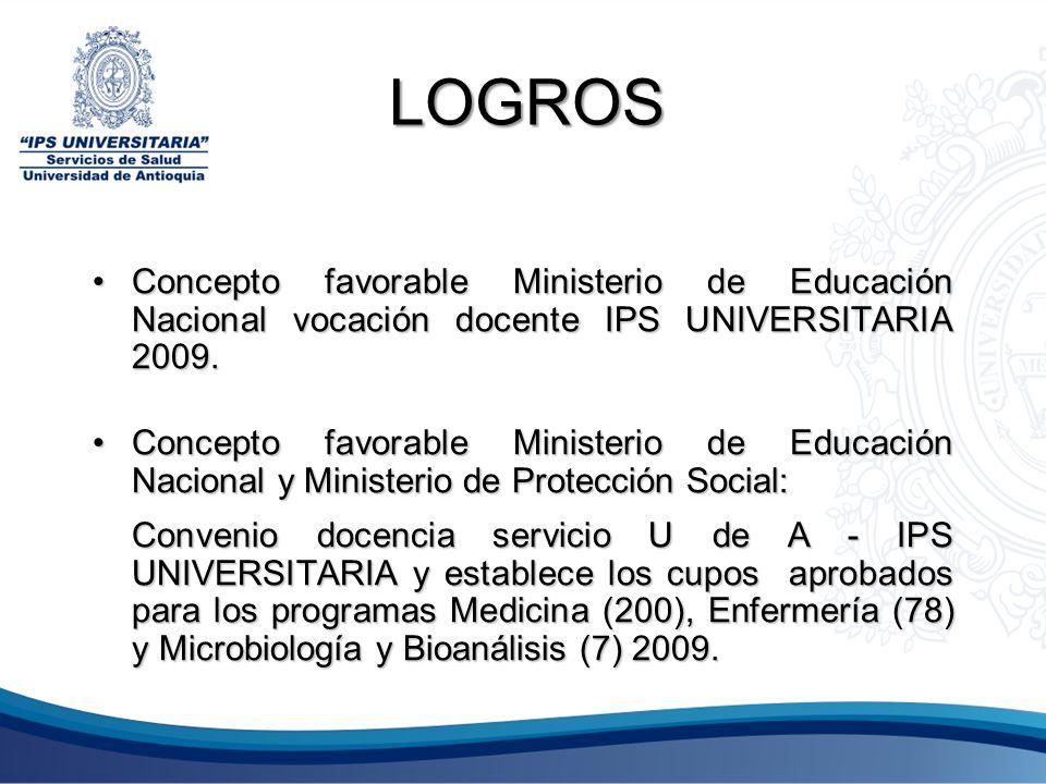 LOGROS Concepto favorable Ministerio de Educación Nacional vocación docente IPS UNIVERSITARIA 2009.