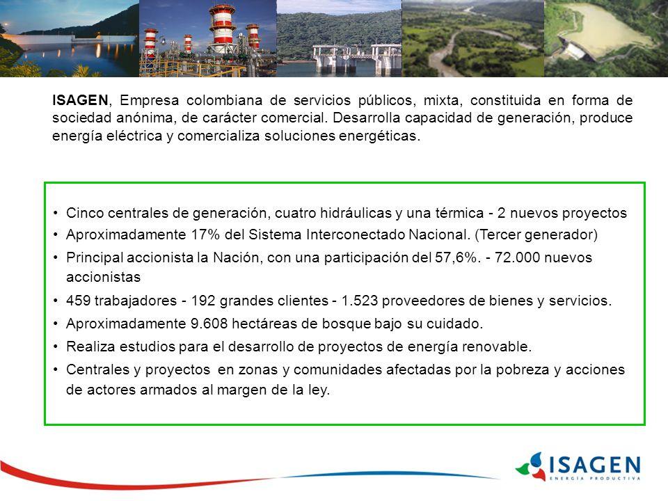 ISAGEN, Empresa colombiana de servicios públicos, mixta, constituida en forma de sociedad anónima, de carácter comercial. Desarrolla capacidad de generación, produce energía eléctrica y comercializa soluciones energéticas.