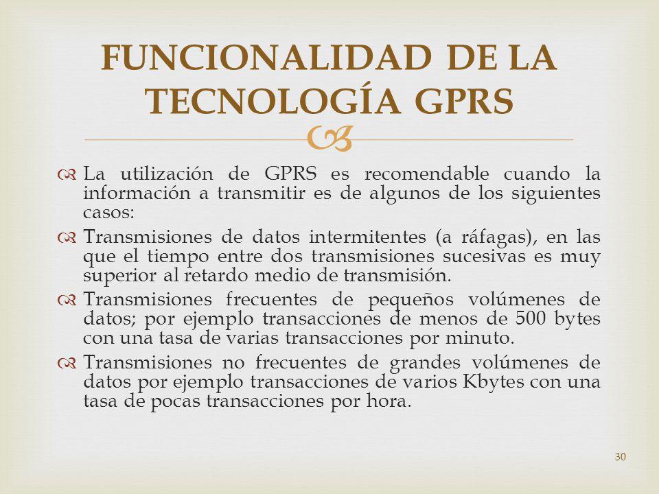 FUNCIONALIDAD DE LA TECNOLOGÍA GPRS