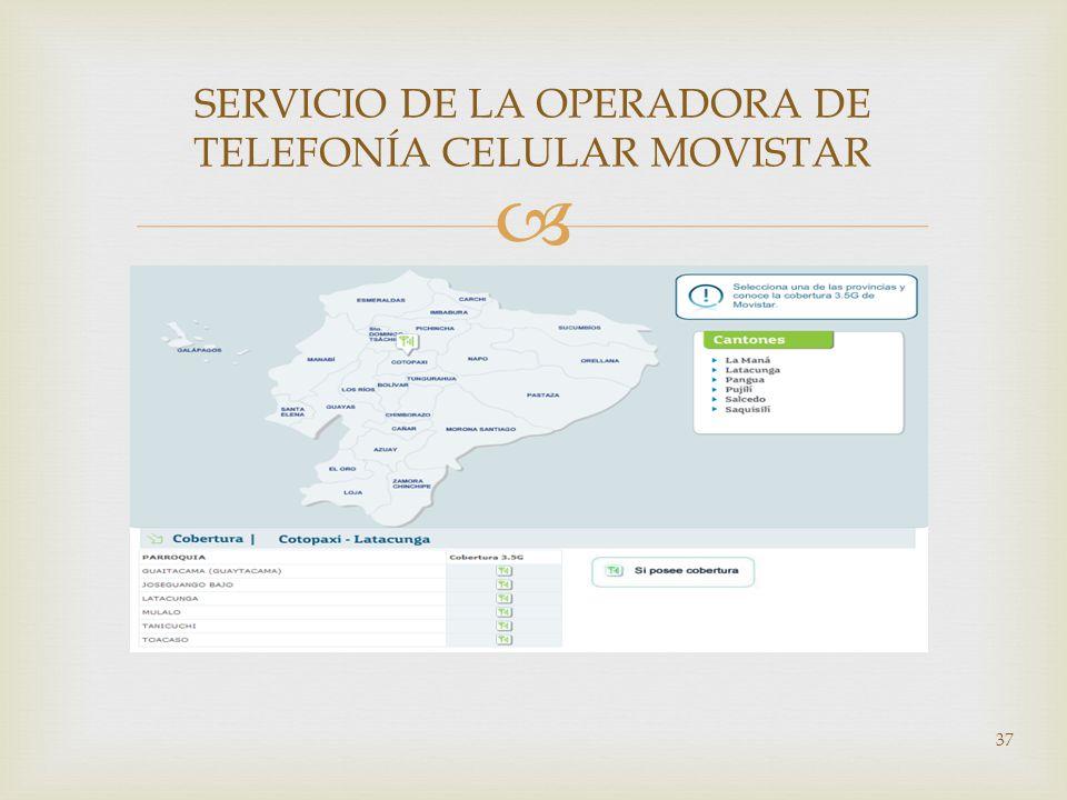 SERVICIO DE LA OPERADORA DE TELEFONÍA CELULAR MOVISTAR