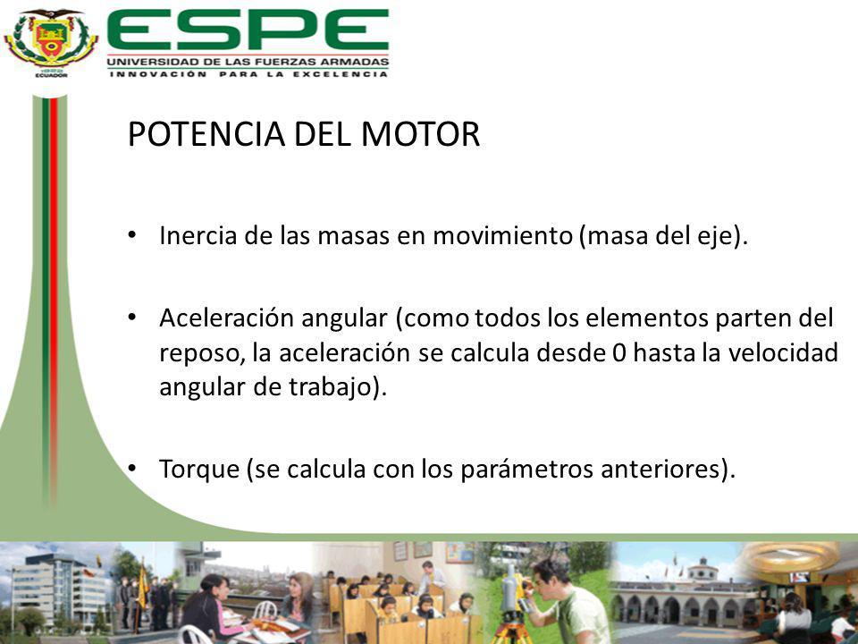POTENCIA DEL MOTOR Inercia de las masas en movimiento (masa del eje).