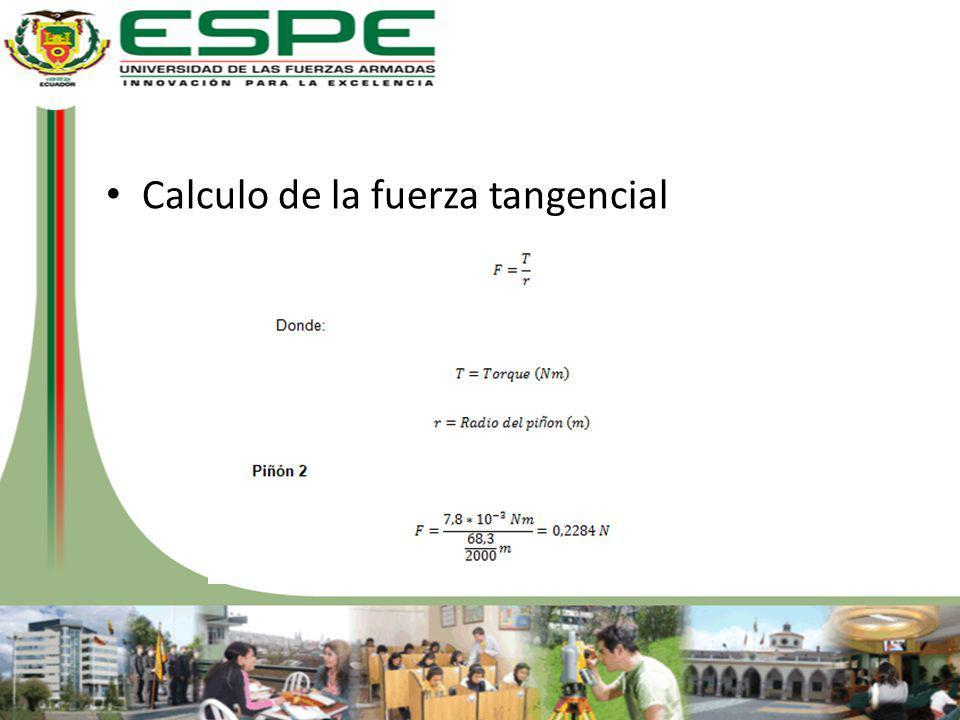 Calculo de la fuerza tangencial