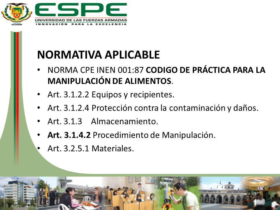 NORMATIVA APLICABLE NORMA CPE INEN 001:87 CODIGO DE PRÁCTICA PARA LA MANIPULACIÓN DE ALIMENTOS. Art. 3.1.2.2 Equipos y recipientes.