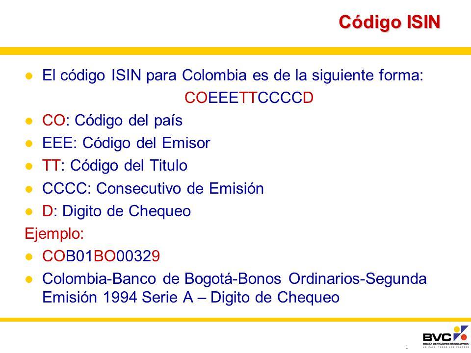 Código ISIN El código ISIN para Colombia es de la siguiente forma: