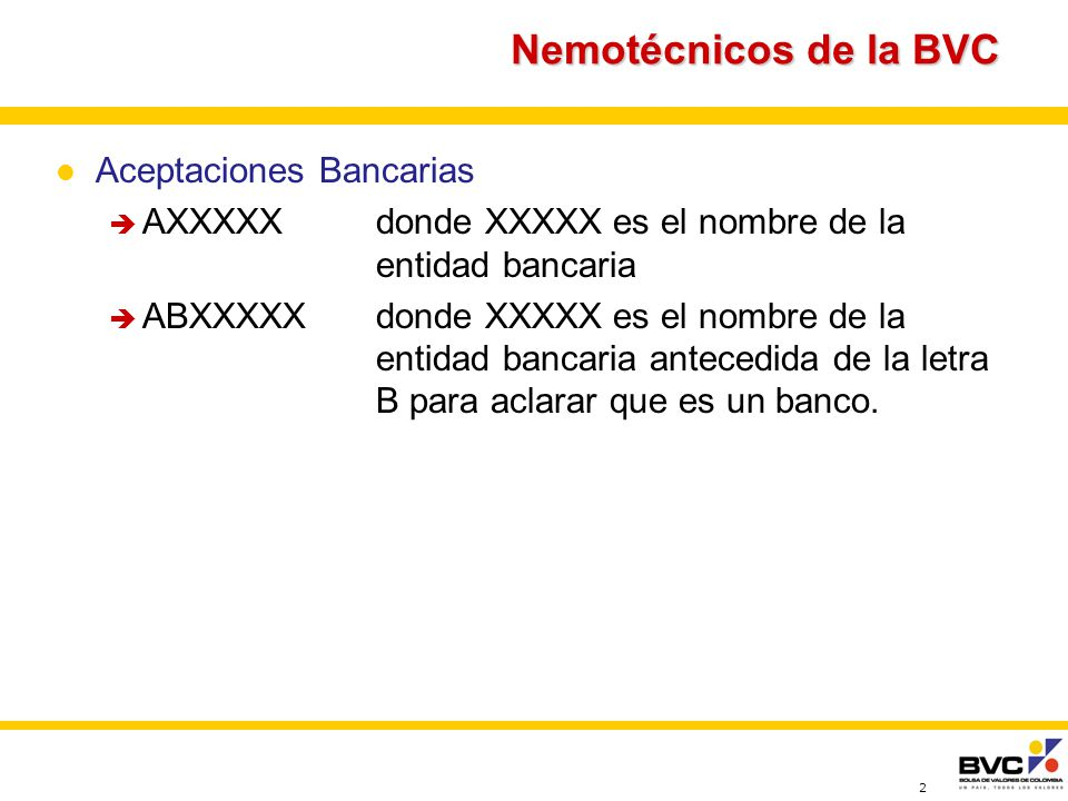 Nemotécnicos de la BVC Aceptaciones Bancarias