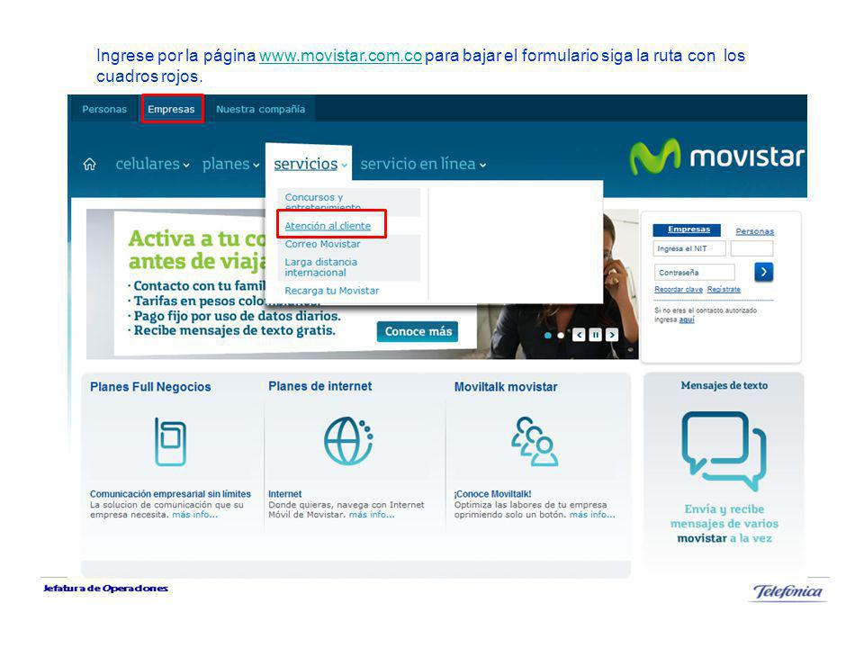 Ingrese por la página www. movistar. com