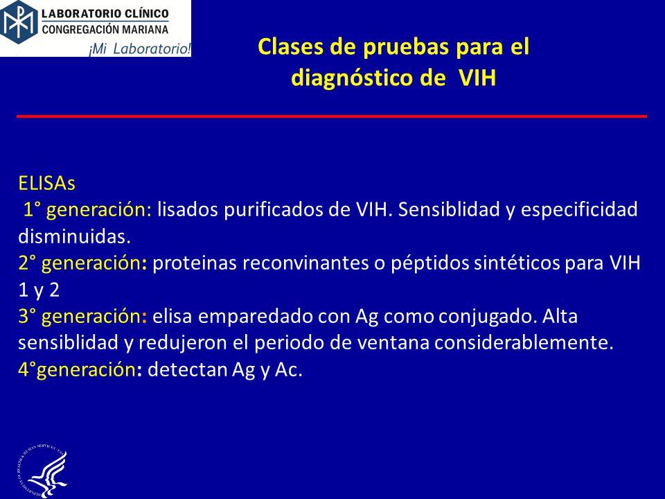 Clases de pruebas para el diagnóstico de VIH
