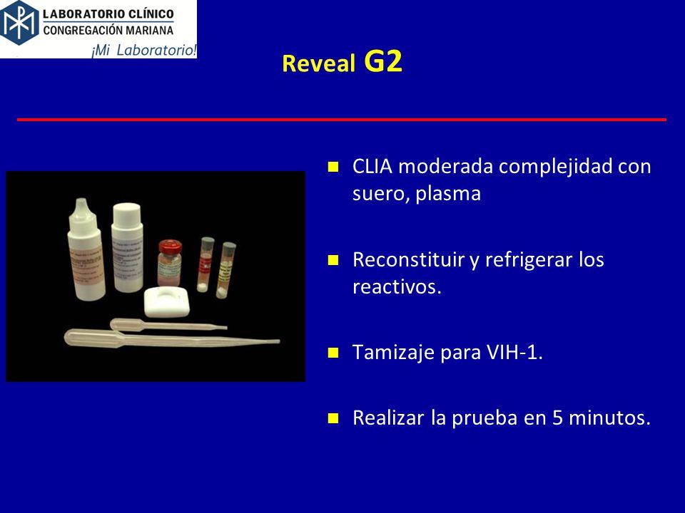 Reveal G2 CLIA moderada complejidad con suero, plasma