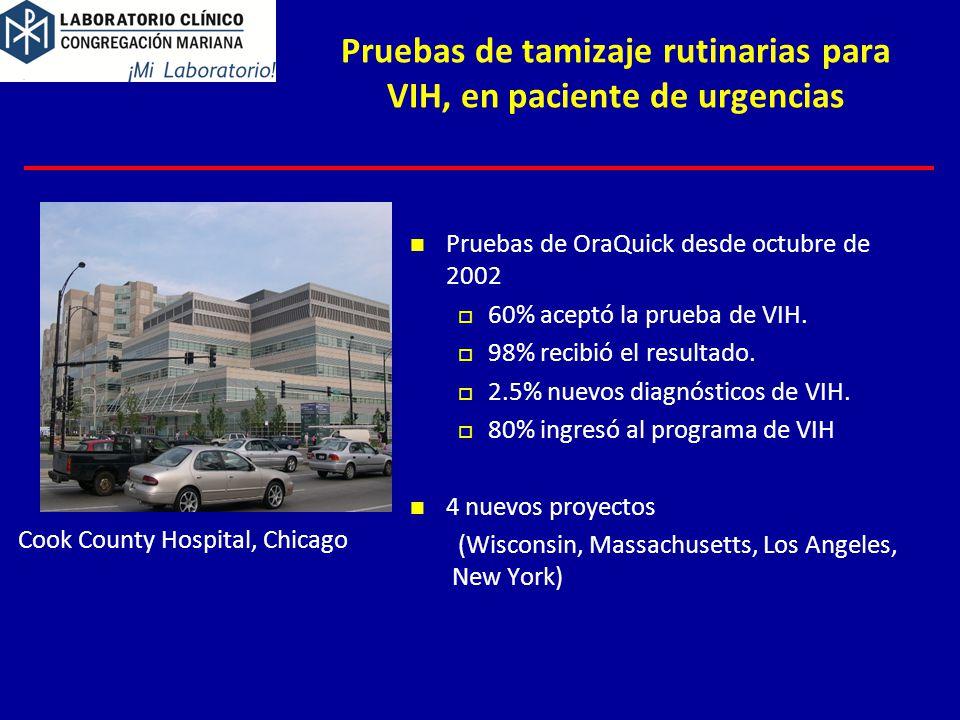 Pruebas de tamizaje rutinarias para VIH, en paciente de urgencias