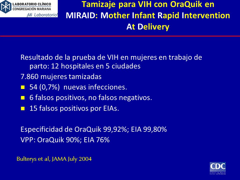 Tamizaje para VIH con OraQuik en MIRAID: Mother Infant Rapid Intervention At Delivery
