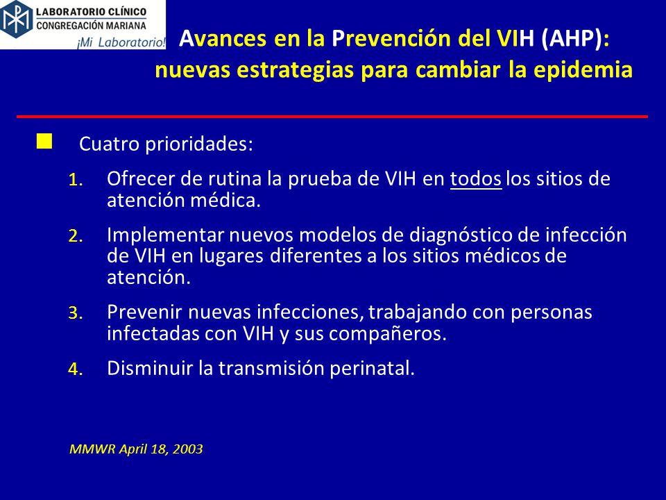 4/1/2017 Avances en la Prevención del VIH (AHP): nuevas estrategias para cambiar la epidemia. Cuatro prioridades: