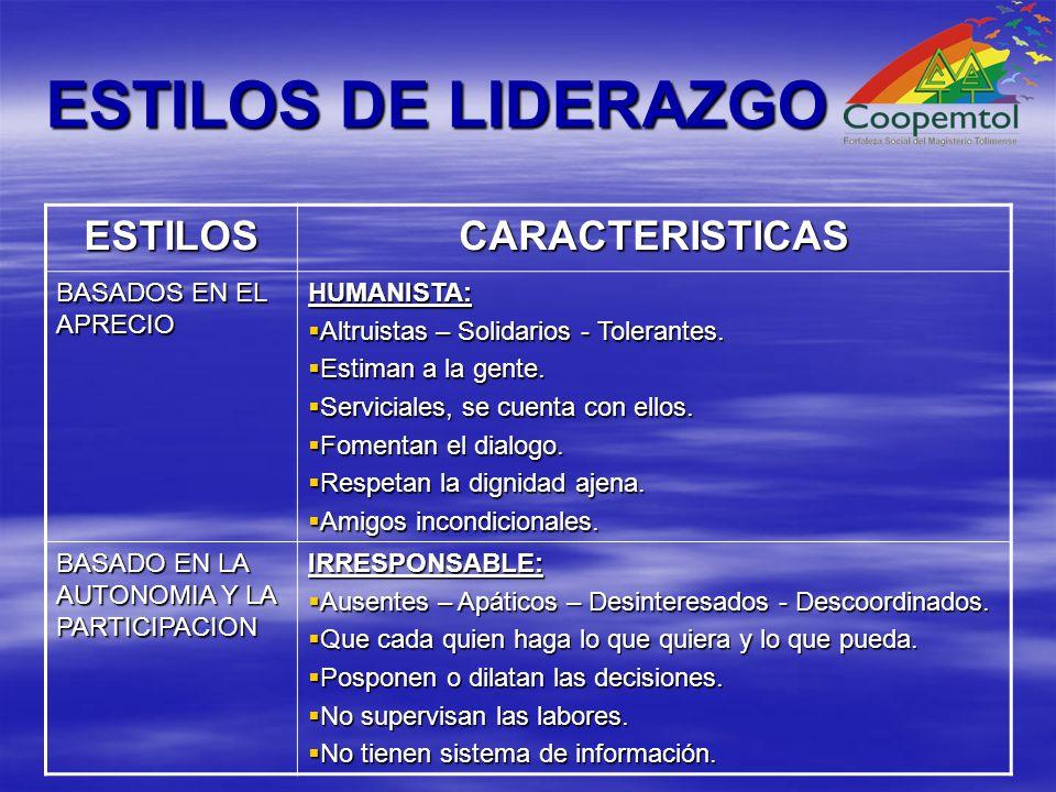 ESTILOS DE LIDERAZGO ESTILOS CARACTERISTICAS BASADOS EN EL APRECIO