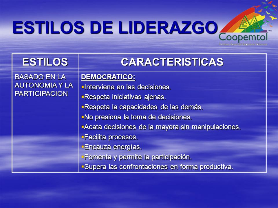 ESTILOS DE LIDERAZGO ESTILOS CARACTERISTICAS