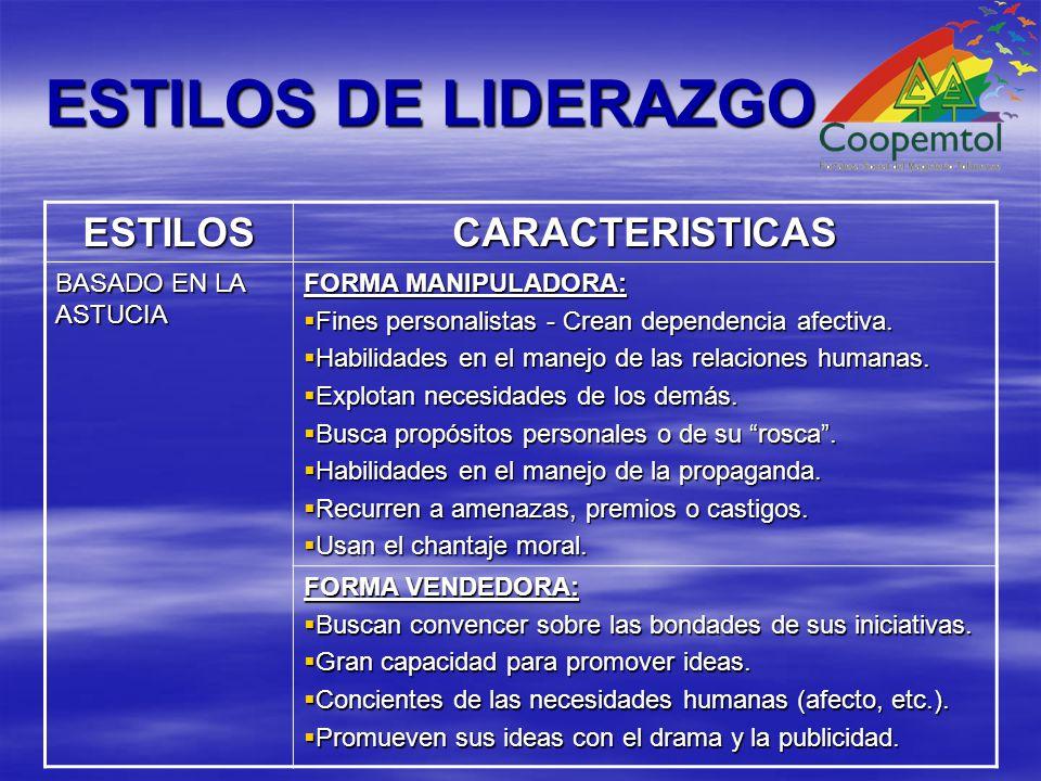 ESTILOS DE LIDERAZGO ESTILOS CARACTERISTICAS BASADO EN LA ASTUCIA