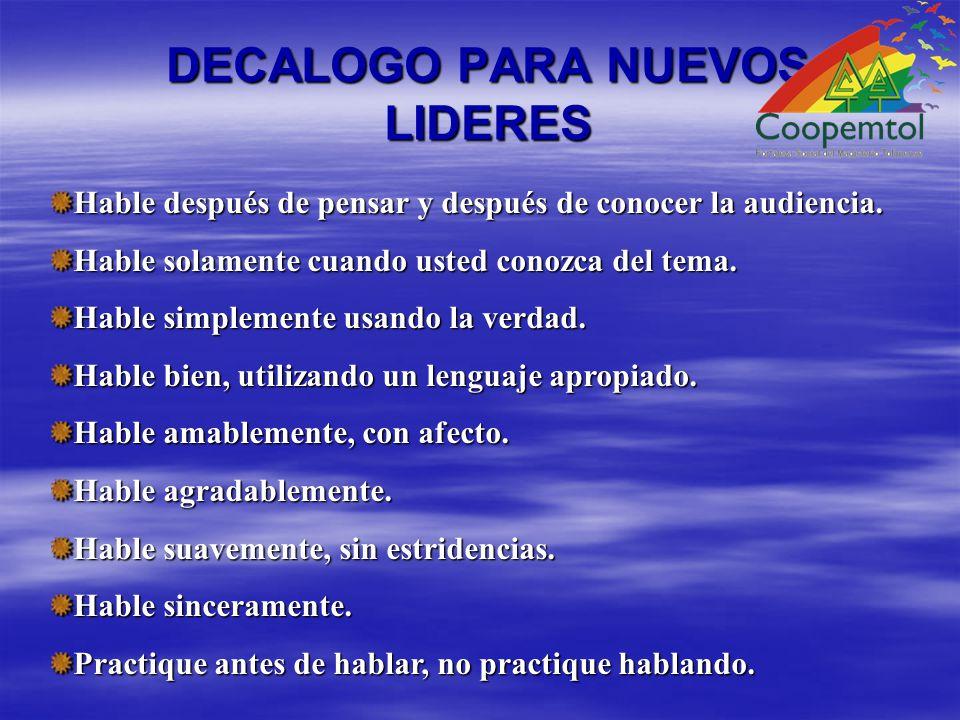 DECALOGO PARA NUEVOS LIDERES