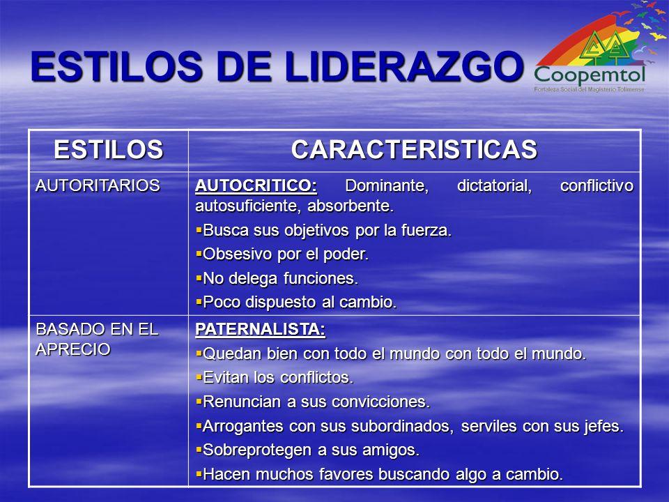ESTILOS DE LIDERAZGO ESTILOS CARACTERISTICAS AUTORITARIOS