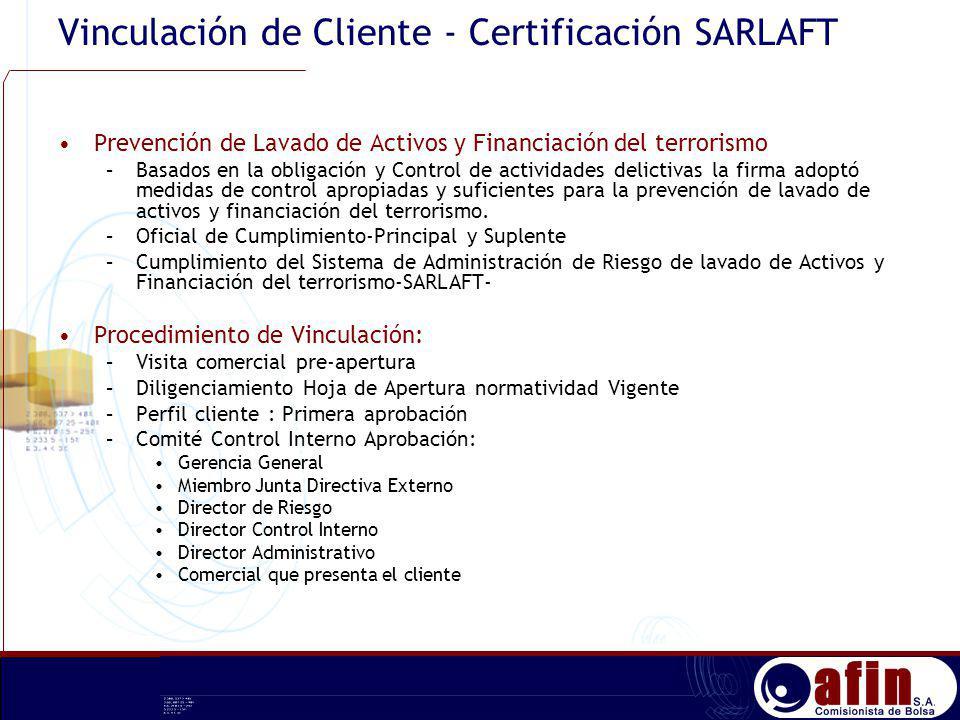 Vinculación de Cliente - Certificación SARLAFT