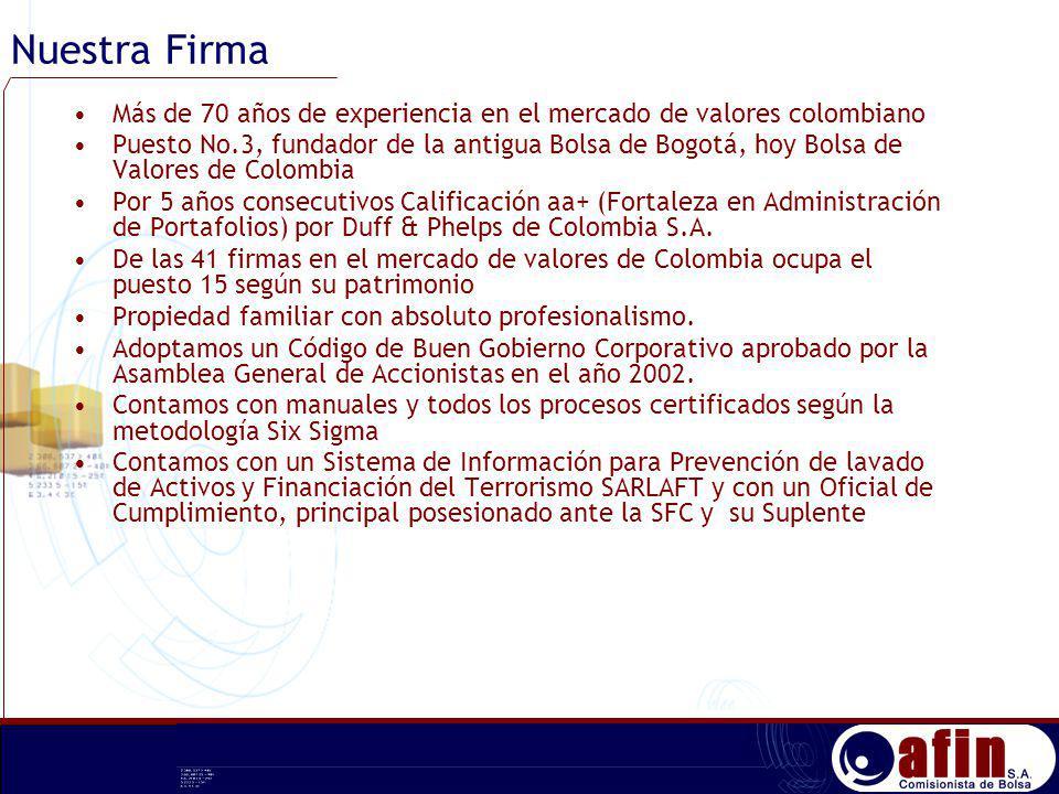 Nuestra Firma Más de 70 años de experiencia en el mercado de valores colombiano.