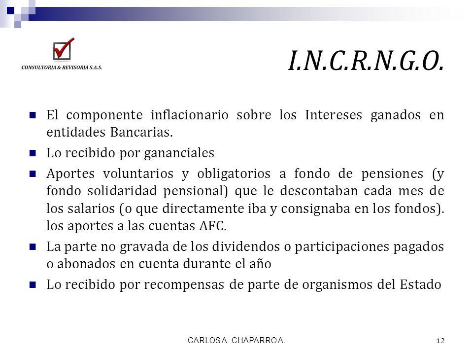 I.N.C.R.N.G.O. El componente inflacionario sobre los Intereses ganados en entidades Bancarias. Lo recibido por gananciales.