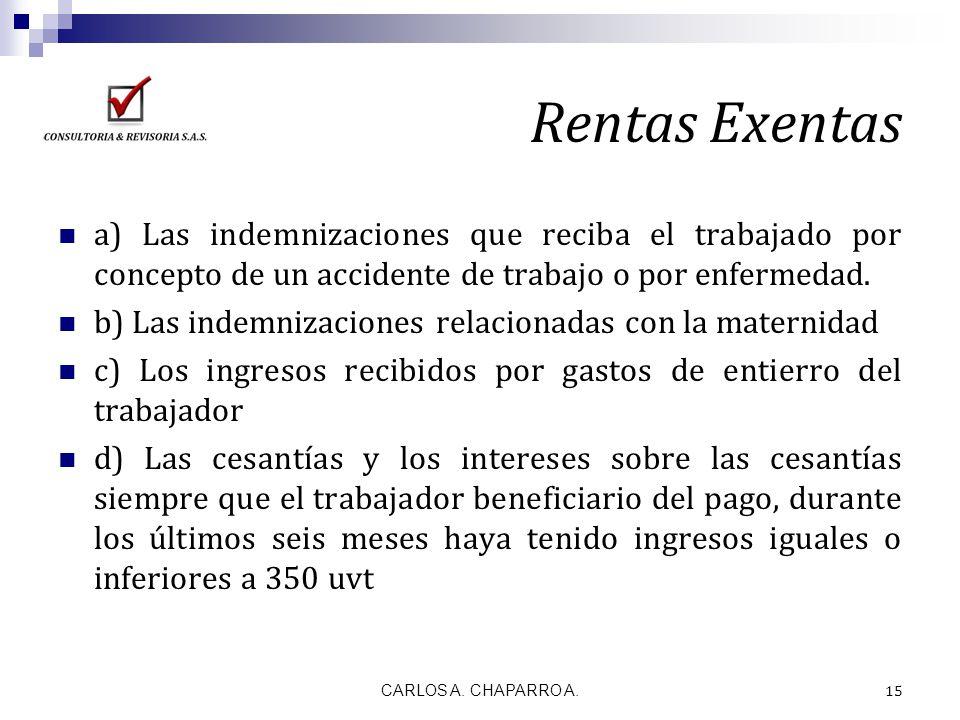 Rentas Exentas a) Las indemnizaciones que reciba el trabajado por concepto de un accidente de trabajo o por enfermedad.