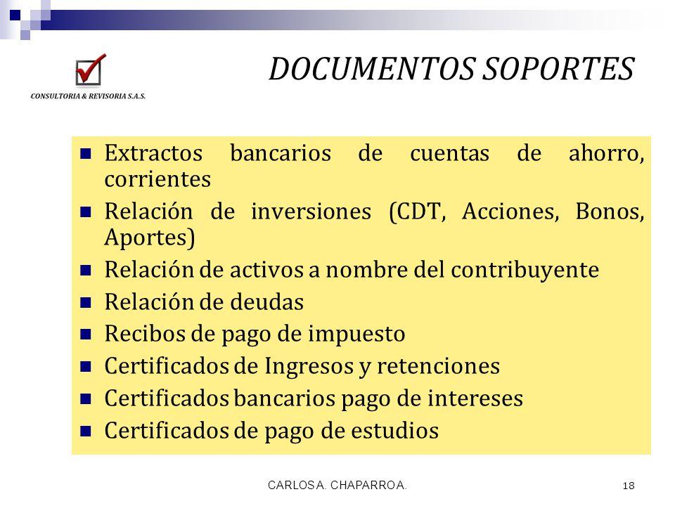 DOCUMENTOS SOPORTES Extractos bancarios de cuentas de ahorro, corrientes. Relación de inversiones (CDT, Acciones, Bonos, Aportes)