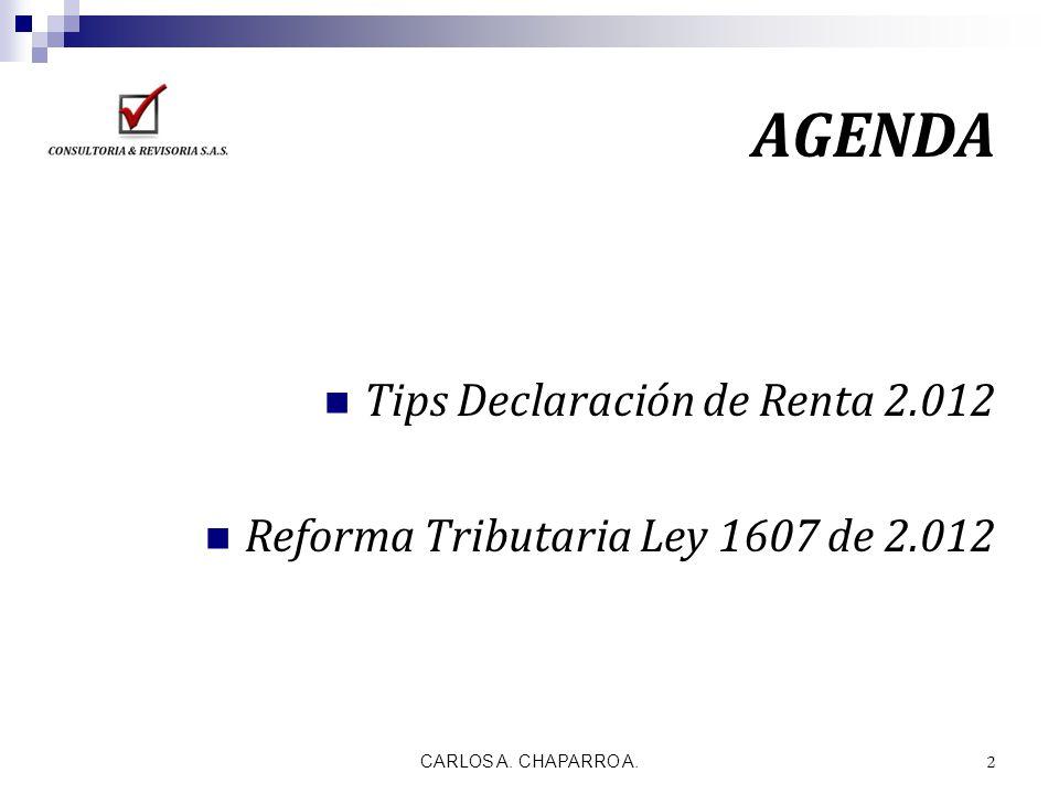 AGENDA Tips Declaración de Renta 2.012