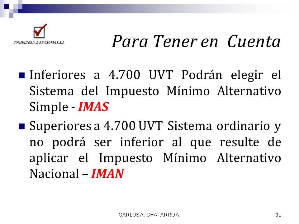 Para Tener en Cuenta Inferiores a 4.700 UVT Podrán elegir el Sistema del Impuesto Mínimo Alternativo Simple - IMAS.