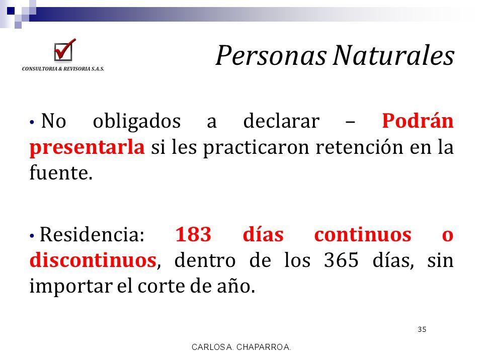 Personas Naturales No obligados a declarar – Podrán presentarla si les practicaron retención en la fuente.