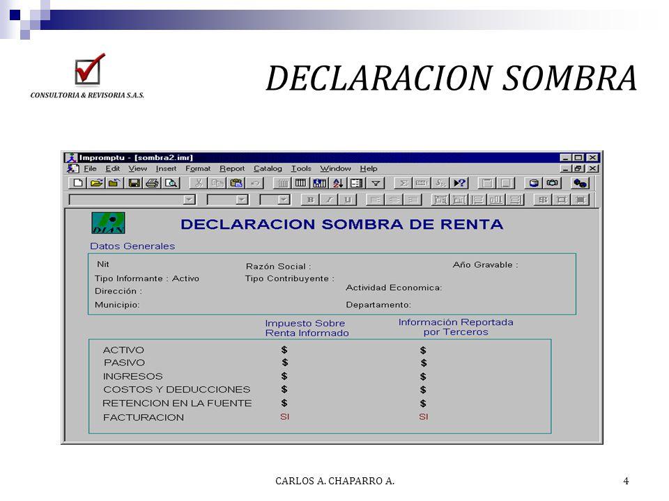 DECLARACION SOMBRA CARLOS A. CHAPARRO A.