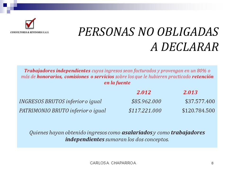 PERSONAS NO OBLIGADAS A DECLARAR 2.012 2.013