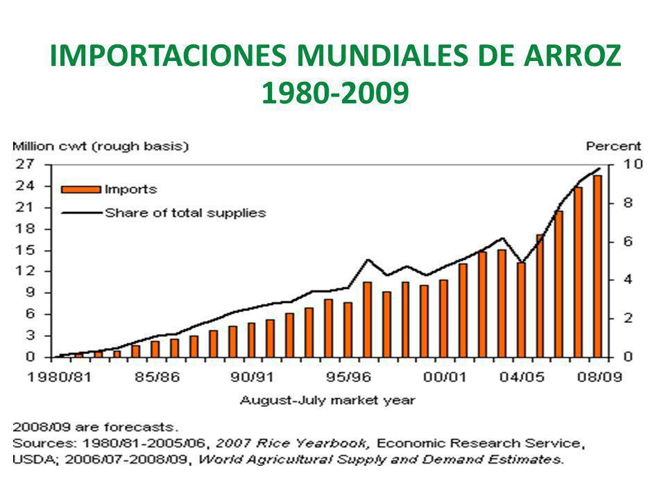 IMPORTACIONES MUNDIALES DE ARROZ 1980-2009