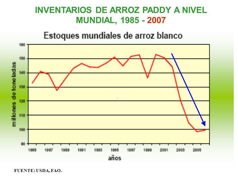 INVENTARIOS DE ARROZ PADDY A NIVEL MUNDIAL, 1985 - 2007