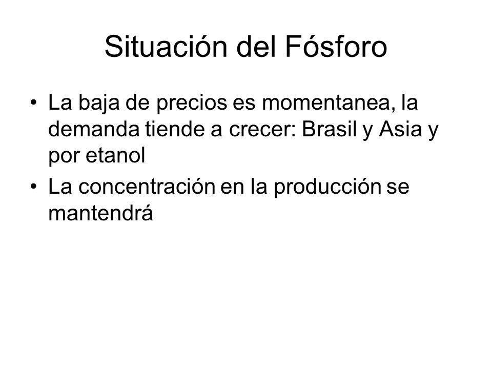 Situación del Fósforo La baja de precios es momentanea, la demanda tiende a crecer: Brasil y Asia y por etanol.
