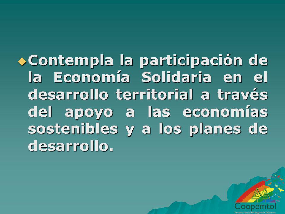 Contempla la participación de la Economía Solidaria en el desarrollo territorial a través del apoyo a las economías sostenibles y a los planes de desarrollo.