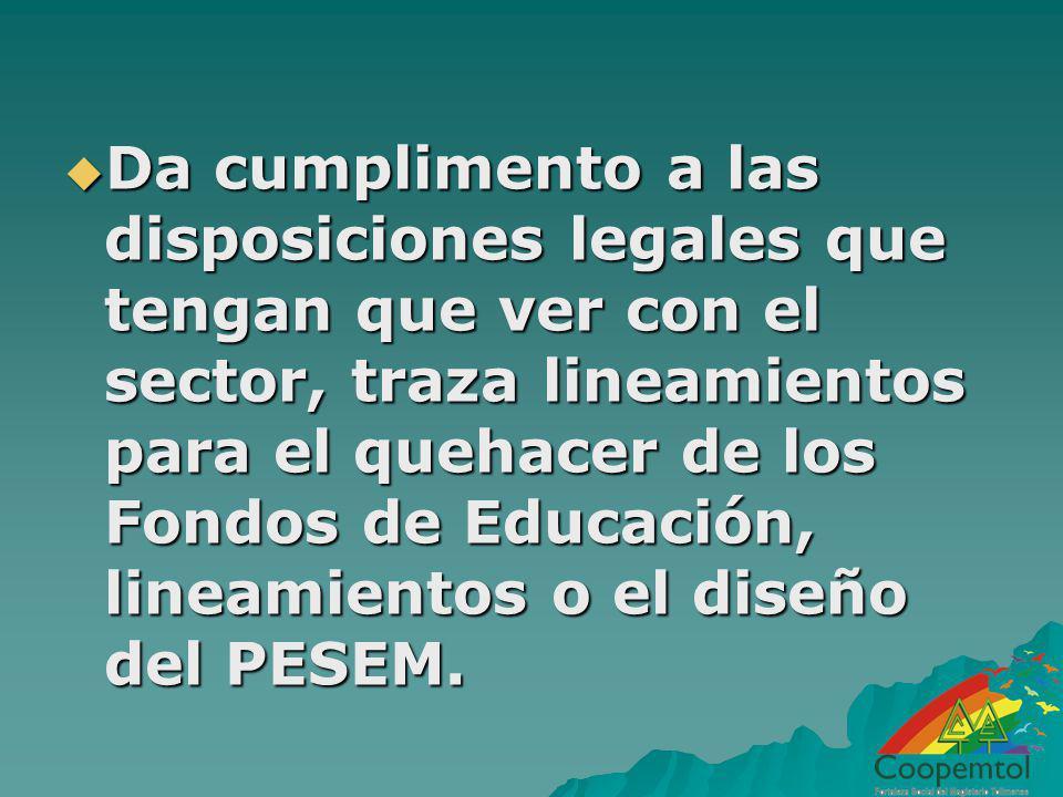 Da cumplimento a las disposiciones legales que tengan que ver con el sector, traza lineamientos para el quehacer de los Fondos de Educación, lineamientos o el diseño del PESEM.