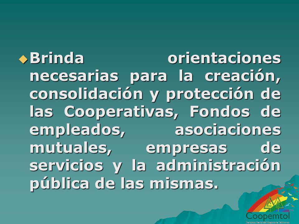 Brinda orientaciones necesarias para la creación, consolidación y protección de las Cooperativas, Fondos de empleados, asociaciones mutuales, empresas de servicios y la administración pública de las mismas.